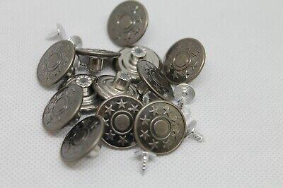 Jeansknöpfe 20 mm Ø 10 Stück inklusive 10 Stifte Hosenknöpfe Metalknöpfe