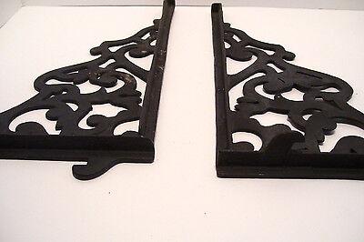 Pair Vintage Steel Shelf Brackets Lock In Type 12 x 14 Inches Victorian Style 3