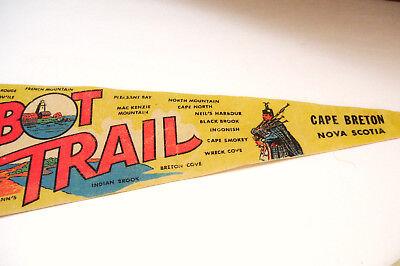 Hopewell Rock Port Aux Basques 1950s Lot of 5 Vintage Felt Pennants Eastern Canada Travel Souvenir Cabot Trail
