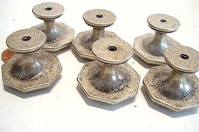 Set of 14 Metal Drawer Knobs Pulls w Screws Pewter Finish 1.5 in. Octagonal NOS