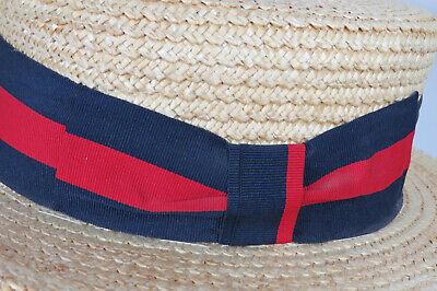 Ponte Realto Venice Boater Hat Gondola 57 7-1/8 Made in Italy Straw Braid Sailor 3