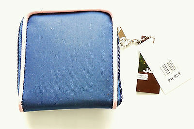 Compact Ladies womens real genuine JEEP zip around purse wallet in Navy//Pink