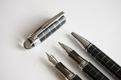 3x Baoer 79 Crystal Checkered Fountain Rollerball Ballpoint Pen Set - UK SOLD! 2