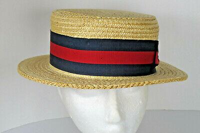 Ponte Realto Venice Boater Hat Gondola 57 7-1/8 Made in Italy Straw Braid Sailor 5