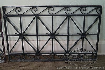 Antique Hand Wrought Iron Pair of Black Iron Regency Style Wall Grates 4