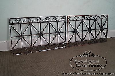 Antique Hand Wrought Iron Pair of Black Iron Regency Style Wall Grates (B) 2