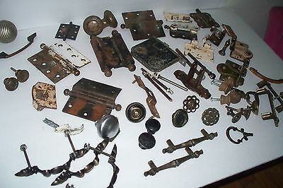 Huge 55 piece lot of Antique & Vintage Door Hinges, Door Hardware, Drawer Pulls 3