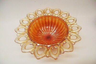 Vtg  Northwood Wild Rose Marigold Carnival Glass Candy Dish Open Lace Edge 7