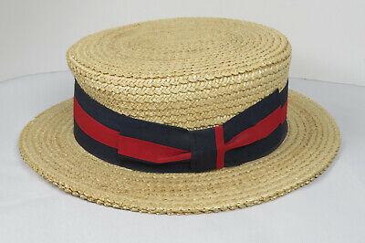 Ponte Realto Venice Boater Hat Gondola 57 7-1/8 Made in Italy Straw Braid Sailor 2