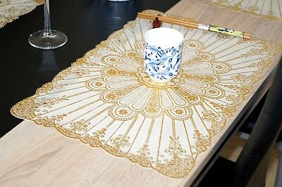 Platzdeckchen Golden Glänzend Tisch Matten Platzsets PVC Tischsets 30 x 45 cm