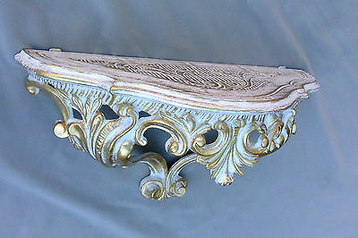 Wall Mirror Baroque White Gold with Console Table Antique Tray Shelf in the Set 6