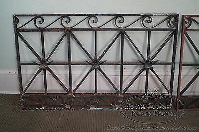 Antique Hand Wrought Iron Pair of Black Iron Regency Style Wall Grates (B) 3