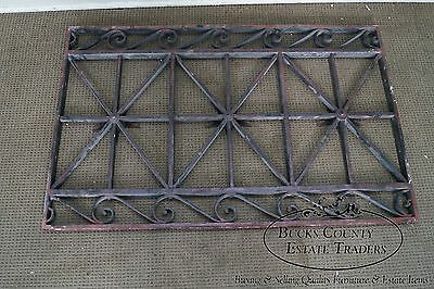 Antique Hand Wrought Iron Pair of Black Iron Regency Style Wall Grates 12