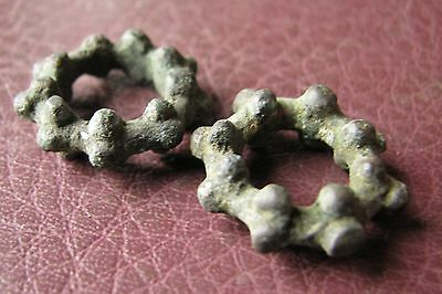 Authentic Ancient Lake Ladoga VIKING Artifact > Bronze Temporal Rings AA30 5