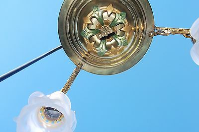 Antique brass & polychrome hanging light/fixture  with French shades 7
