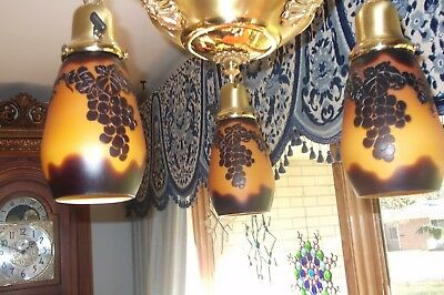 Vintage brass hanging light/fixture with Galle-style shades 2