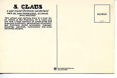 Santa Claus Christmas Store-San Francisco-California-Adv Vintage Postcard 2