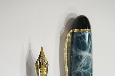 Jinhao X450 Blue Marble Fountain Pen, MEDIUM Nib Gold Trim - UK SOLD!