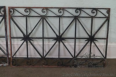 Antique Hand Wrought Iron Pair of Black Iron Regency Style Wall Grates (B) 4