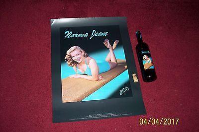 VINTAGE ORIGINAL MARILYN MONROE - NORMA JEANE - 2011 POSTER - and Wine Bottle
