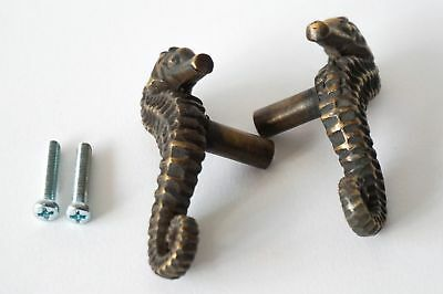 4 Sea Horse Cabinet Pull Set Door Knob Handle Seahorse pure aged Brass 7.5 cm B 8