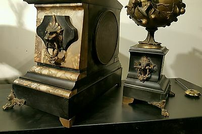 Antique J E Caldwell French Mantel Clock Set w/ Urns Marble Bronze 19th C EXLNT! 9