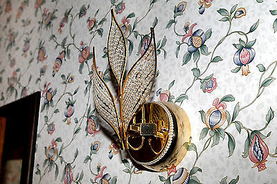 Rare Vintage Italian Wall sconce early 1980's Autumn leaves glass pearls 9