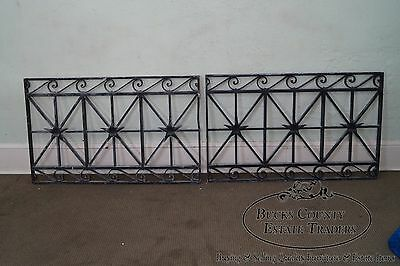 Antique Hand Wrought Iron Pair of Black Iron Regency Style Wall Grates 2