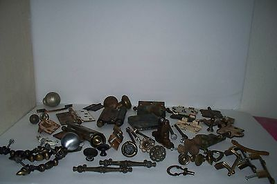 Huge 55 piece lot of Antique & Vintage Door Hinges, Door Hardware, Drawer Pulls 2