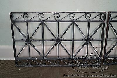 Antique Hand Wrought Iron Pair of Black Iron Regency Style Wall Grates 3