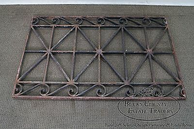 Antique Hand Wrought Iron Pair of Black Iron Regency Style Wall Grates (B) 12