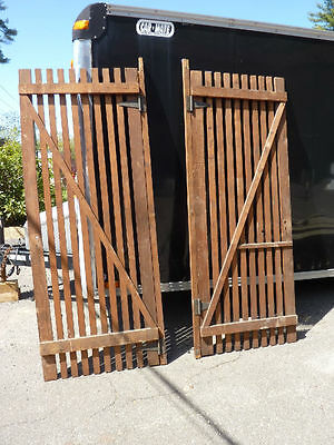 "PR victorian ATTIC slatted DOORS great for restoration or ART project 87 x 33.5"" 7"