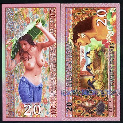 Pacific States of MMP, $20 Private Issue Polymer > Weavers, Polynesian Nude