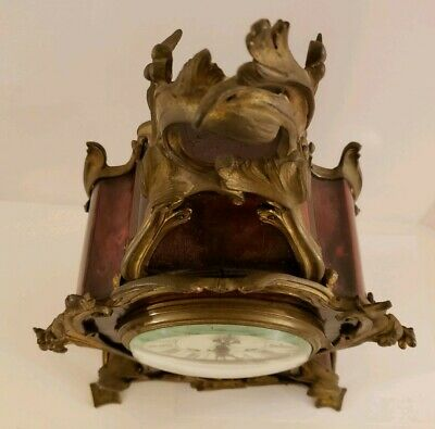 Antique 1855 V. Depose French Boulle Victorian Red Shell Bracket Mantel Clock 11