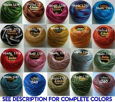 1 ANCHOR Pearl Cotton 8 Crochet Embroidery Thread Ball 1 Flat/Free Postage on 10 12