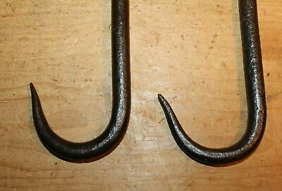 Antique Style Wrought Iron Beam Hooks Pair Meat Beam Butchers Screw In 2