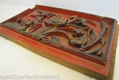 Antique Asian Hand Carved Panel red gold paint flowers bird wall architectural 11
