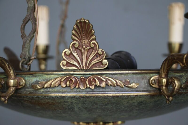 Big antique French Empire dish shaped ceiling light cast bronze chandelier 6 arm 2