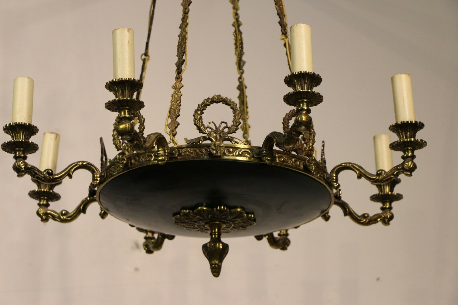 Antique vintage brass Dutch chandelier five arms ornate dragon head scrolls 1920 8