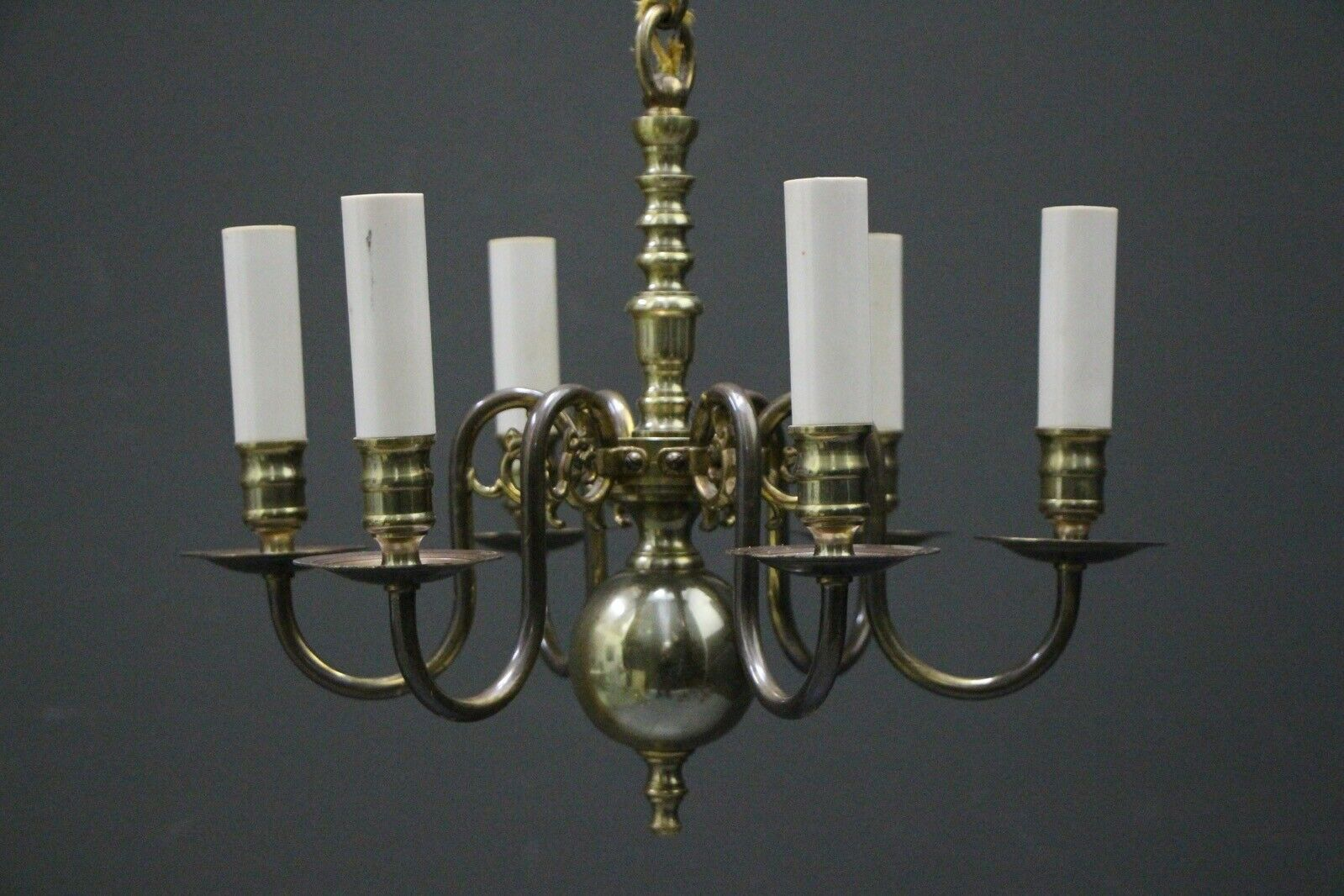 Antique Dutch or French Provincial 6 arm chandelier with dragon scroll arms 1935 5