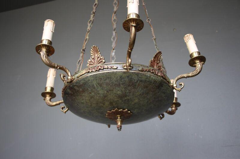 Big antique French Empire dish shaped ceiling light cast bronze chandelier 6 arm 3