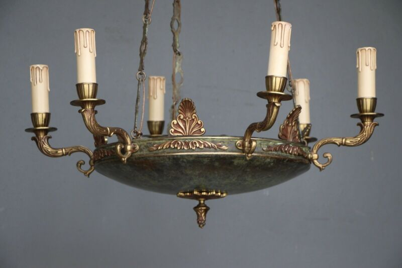 Big antique French Empire dish shaped ceiling light cast bronze chandelier 6 arm 8