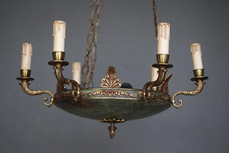 Big antique French Empire dish shaped ceiling light cast bronze chandelier 6 arm 5