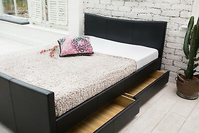 95123107aea ... 4 Drawers Leather Storage Sleigh Bed Double Or King Size Beds + Memory  Mattress 2