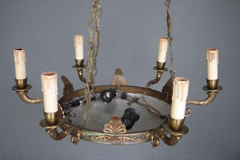 Big antique French Empire dish shaped ceiling light cast bronze chandelier 6 arm 12