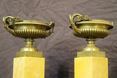 Antique French Empire sienna marble bronze urns vase Neoclassical Tazza original 8