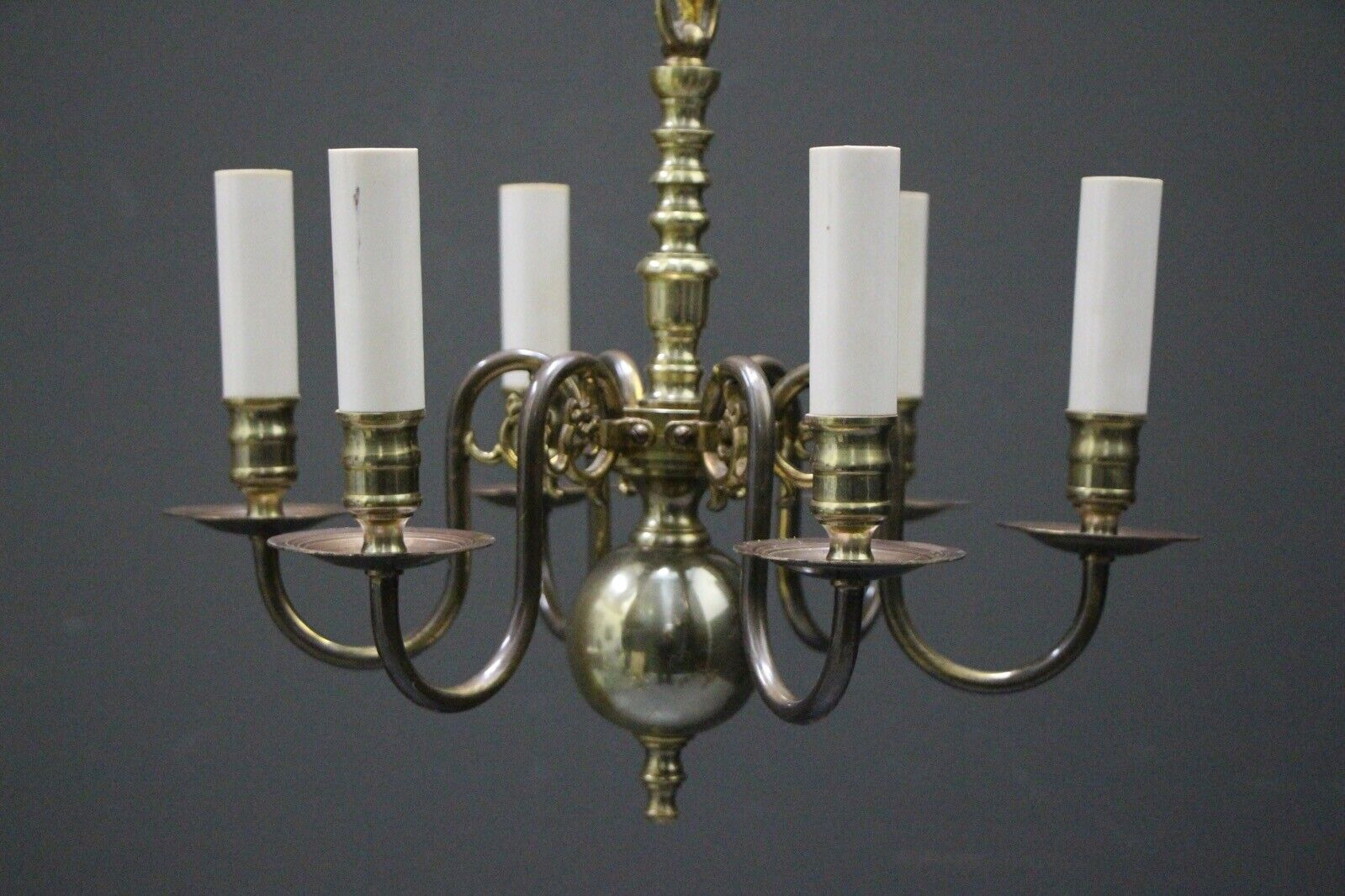 Antique Dutch or French Provincial 6 arm chandelier with dragon scroll arms 1935 11