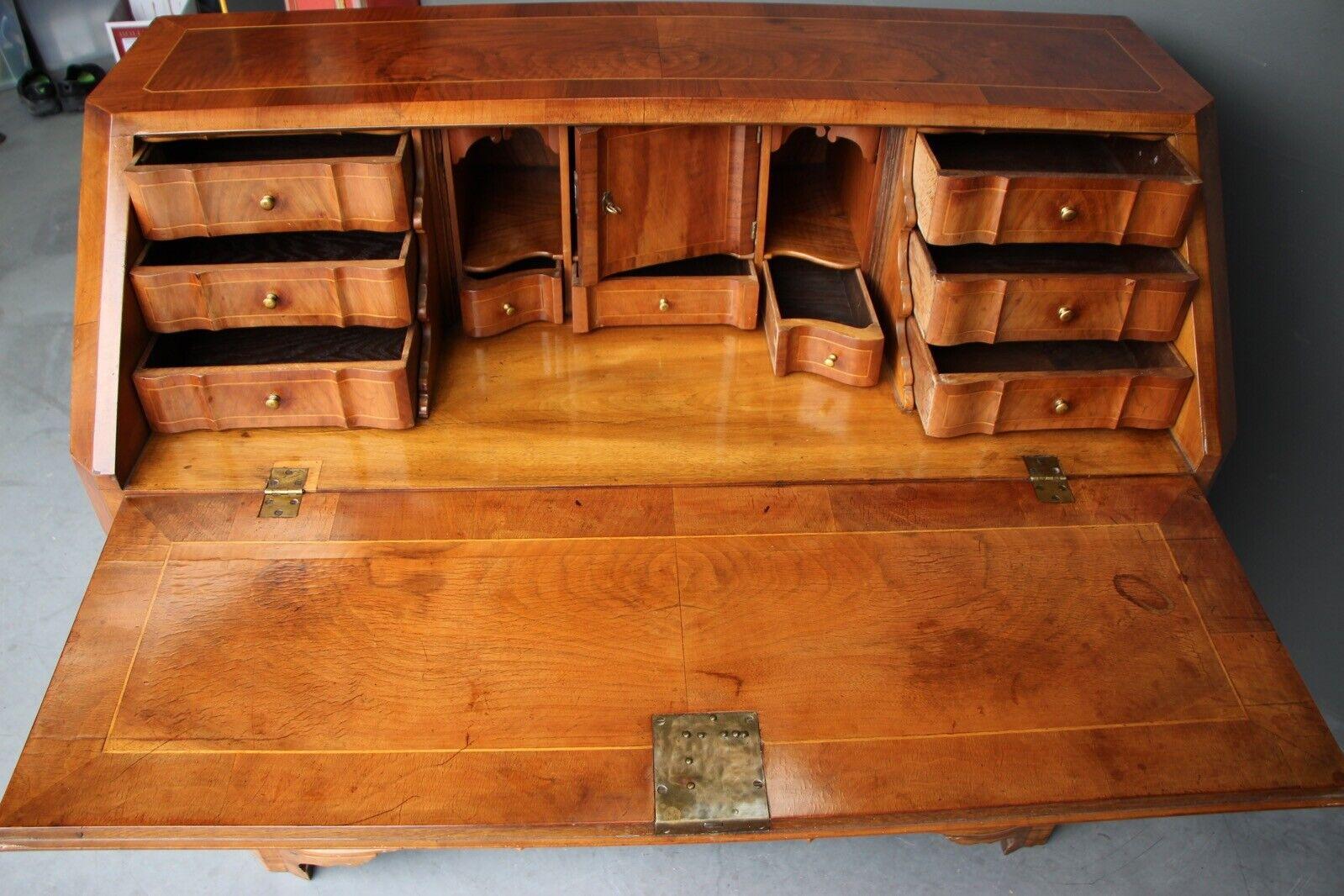 Rare antique 18th century European baroque walnut inlaid secretaire bureau desk 7
