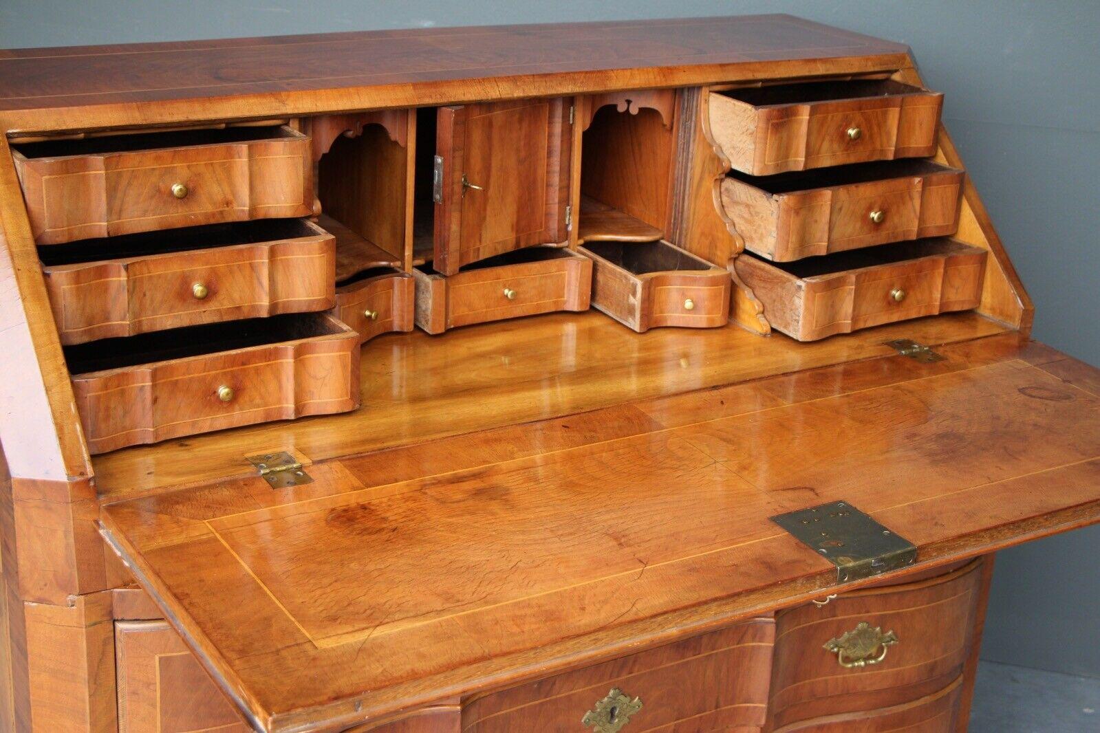 Rare antique 18th century European baroque walnut inlaid secretaire bureau desk 6