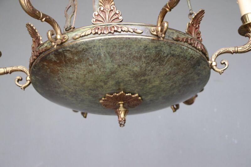 Big antique French Empire dish shaped ceiling light cast bronze chandelier 6 arm 10